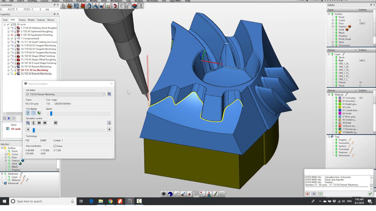 Tính năng rework 5x trong phần mềm 5 trục của hyperMILL